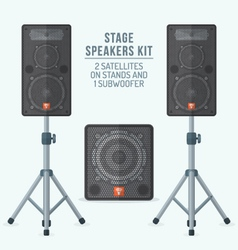 Color flat style loudspeakers on stands and vector