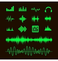Sound waveforms sound waves and musical pulse vector