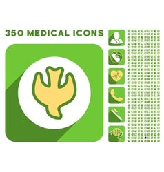 Falling soul icon and medical longshadow icon set vector