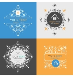 Vintage posters logos icons of houses vector