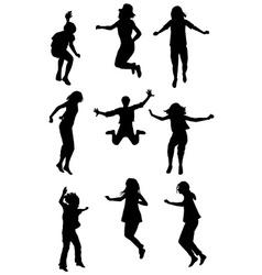 Children jumping set vector image