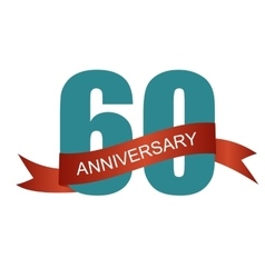 Sixty 60 years anniversary label sign for your vector