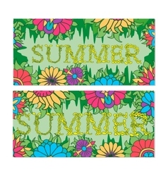 Summers banners with plants and flower vector
