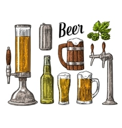 Beer class can bottle barrel vintage vector