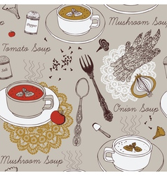 Background with soup in ceramic bowl vector