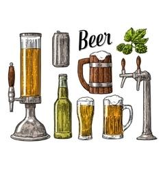 Beer class can bottle barrel vintage vector