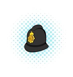 British police helmet icon comics style vector