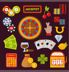 Casino icons set with roulette gambler joker slot vector