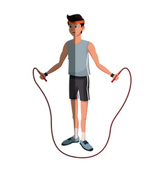 Character man sport jumping rope fitness vector