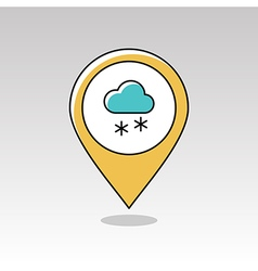 Cloud with snow pin map icon meteorology weather vector