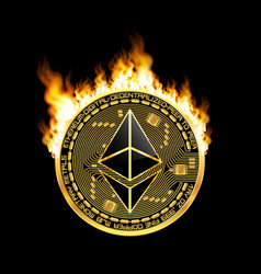 crypto currency ethereum golden symbol on fire vector image vector image