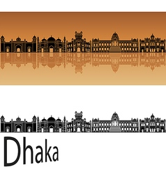 Dhaka skyline in orange vector