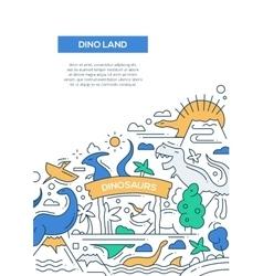Dinoland - line design brochure poster template A4 vector image vector image