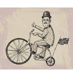Gentleman on a bicycle vector
