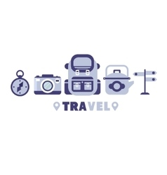 Hiking Travel Symbols Set By Five In Line vector image vector image