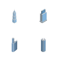 Isometric construction set of urban building vector