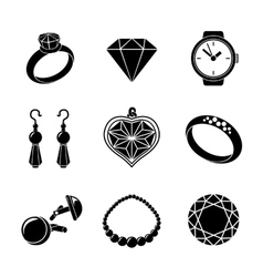 Jewelry monochrome icons set with - rings vector