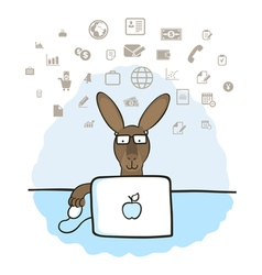 Kangaroo in the office vector