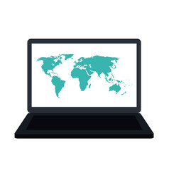 laptop computer with world map on screen icon vector image vector image