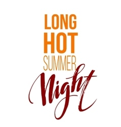 Long Hot Summer Night Typography Design vector image vector image