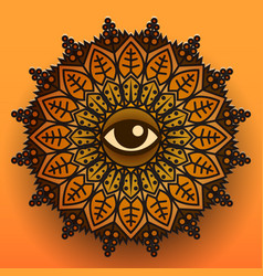 mandala symbol on orange background vector image