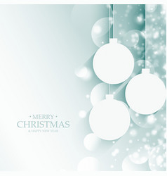 Merry christmas balls decoration with bokeh effect vector