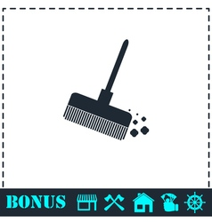 Mop bucket icon flat vector