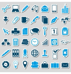 Office work theme simple blue stickers collection vector