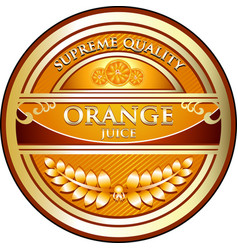 Orange juice label vector