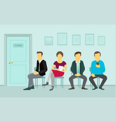 people sitting and waiting in the queue door to vector image