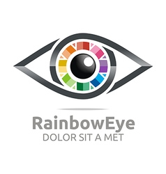 Rainbow eye circle eyeball symbol logo vector