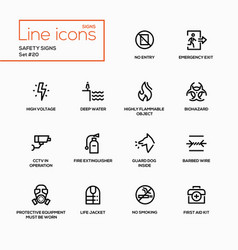 Safety signs - modern single line icons set vector