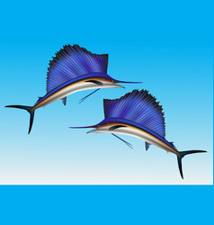 Sailfish jumping out of water realistic vector
