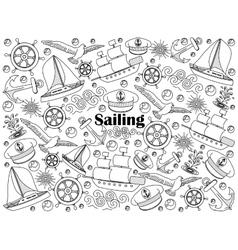 Sailing colorless set vector image vector image