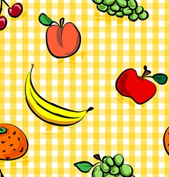 Seamless grungy fruits over yellow gingham pattern vector image