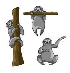 Set of cute sloths cartoon style sloth print for vector