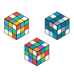 Set of three isomeric colored cubes on a white vector