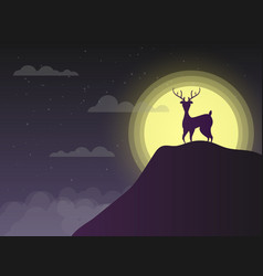 Silhouette deer standing on cliff in night with vector