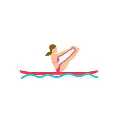 sportive girl doing yoga exercise on board vector image
