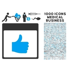 Thumb up calendar page icon with 1000 medical vector