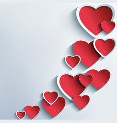 Trendy abstract background with 3d hearts vector image vector image