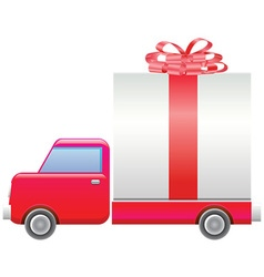 Truck with present vector image vector image