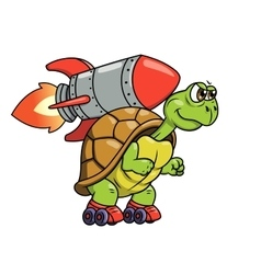 Turtle with rocket 2 vector