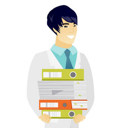Young asian doctor holding pile of folders vector