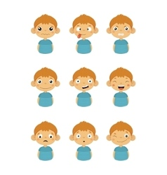 Young Boy Portrait Icons With Different Emotions vector image vector image