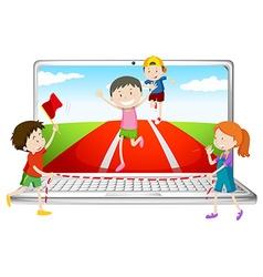 Computer screen with children running in race vector image