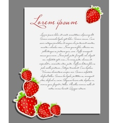 Strawberry background blank page vector