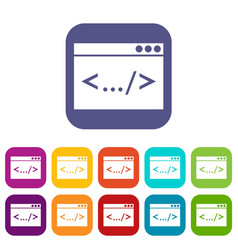 Code window icons set vector
