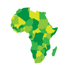 Political map of africa in four shades of green on vector