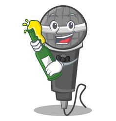 With beer microphone cartoon character design vector